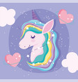 unicorn with rainbow hair love hearts clouds vector image vector image