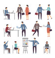various scene of active business people in office vector image vector image