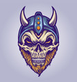 viking skull head with horn helmet for your work vector image vector image