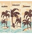 vintage banners island in ocean vector image vector image