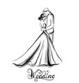 wedding couple silhouette line art vector image vector image