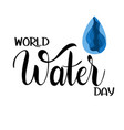 world water day lettering vector image