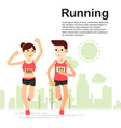 young couple running and training for marathon vector image