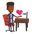 young man dating online using laptop vector image vector image