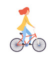 young woman in casual clothes riding bicycle vector image vector image