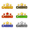 colored logo text casino and star for ui game vector image
