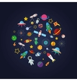Flat design composition of space icons vector image