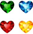 The set of four colorful diamond hearts vector image