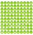 100 restaurant icons set green vector image vector image