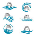 abstract seal icons set vector image vector image