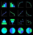 Applied graph color icons with shadow vector image vector image