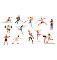 athletes set gymnast and runner boxer and figure vector image