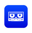audio cassette tape icon digital blue vector image vector image