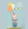birthday cartoon little pig vector image