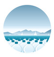 bottled water sea round icon vector image vector image