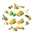 building vehicles icons set isometric style vector image vector image