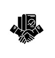 business partnership black icon sign on vector image