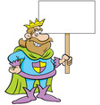 Cartoon King Holding a Sign vector image vector image