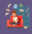 cartoon man student reading books vector image