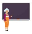 cartoon old female teacher standing in front vector image vector image