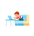 child boy is using a laptop and study online with vector image vector image