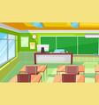 classroom interior room with desks and blackboard vector image vector image
