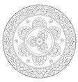 Coloring Black Arabic Mandala vector image