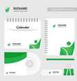 company calender with diary and stationary items vector image