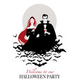 couple of vampires on a cloud of bats holding red vector image vector image