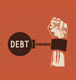 debt concept hand silhouette cuffed to weight vector image