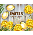 easter card golden eggs and yellow flowers vector image