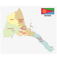 eritrea administrativ and political map with flag vector image vector image