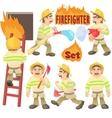 Fireman concept set cartoon style vector image