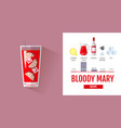 flat style cocktail bloody mary menu vector image