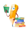 funny pensil with books education concept vector image