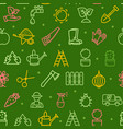 gardening seamless pattern background on a green vector image vector image