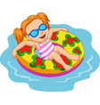 girl floating with inflatable ring vector image vector image