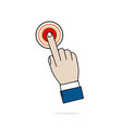 hand business icon press red button on white
