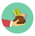 hand giving money - concept a credit or loan vector image vector image
