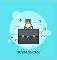 hand holding briefcase and ascending graph vector image