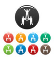 happy teamwork icons set color vector image