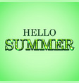 hello summer glitter text on green background vector image vector image