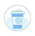 icon with a cup of coffee in blue mug in a circle vector image