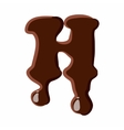Letter H from latin alphabet made of chocolate vector image