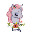 little cartoon fairytale unicorn vector image vector image