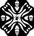 Monochromatic background with skulls ans spider vector image vector image