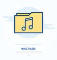 music folder with note thin line icon vector image