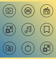 music icons line style set with minimize vinyl vector image vector image