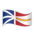 newfoundland and labrador flag wavy white backdrop vector image vector image