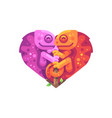 pink and orange chameleons in the shape of a heart vector image vector image